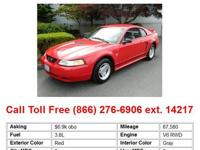 1999 Ford Mustang Base 2dr Coupe Coupe Red RWD V6 3.8L