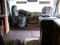 Class A motorhome with lots of storage inside and out.