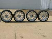 For sale 4 19 inch 5 bolt rims and wheels. like new no