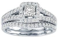 Brand New 1.00ct,Certified,14k white gold bridal set on