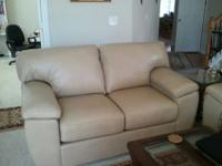 Contemporary/transitional leather beige sofa and