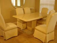 Two Piece Italian Marble Table (two piece) with 6
