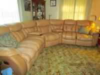 Large gold leather sectional sofa--3 recliners (1 on