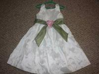 White sleeveless First Communion or Flower Girl Dress