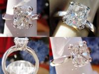 2.02CT Cushion Diamond Platinum Engagement Ring GIA