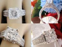 2.10CT Radiant Diamond Pave Engagement Ring Certified