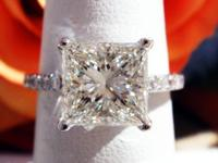 2.33CT Princess Diamond Engagement Ring GIA Lab