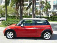 2002 MINI COOPER RED WITH RALLY WHITE STRIPES,CHARCOAL