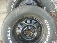 "For sale: *(2) basic 5 bolt steelies 15"" *Tires are"