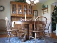 Handcrafted solid oak dining room set. 6 chairs, 6