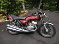 This is a 1975 Kawaski H-2 2 Stroke, 3 cylinder 750cc