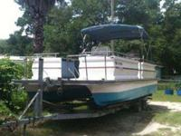 30' Fiberglass hull, Pontoon party barge for sale with