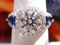 2.95CT Round Brilliant Triple Excellent GIA w/Sapphires
