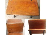 Antique American school desk,cast iron scrolled sides