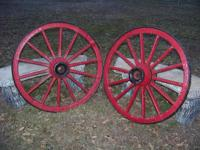 2 Antique 1890's 14 Spoke Wooden Buggy Wagon Wheels