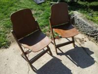 2 Antique AMERICAN SEATING COMPANY Folding Wooden