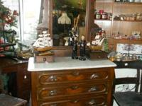 Lovely Marble Leading Antique Cabinet, on wheels,