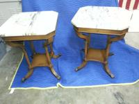 *** 2 Antique Marble Top Lamp Tables with Brass Claw