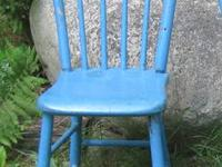SALE ! A pair of antique plank bottom chairs with blue