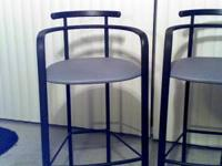 2 very nice bar stools black metal with blue cushions.