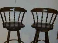 Bar stool seat is 29 1/2 inches off the floor. Swivels