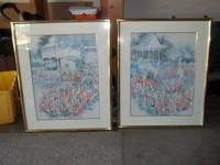 2 Beautiful paintings Country Garden with pastel pinks,