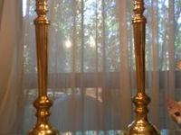 2 solid Brass and frosted heavy glass table lamps with
