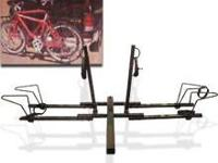 This is a heavy duty steel bike rack that attaches to a