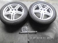 (2) Bridgestone Blizzak Mounted Studless Snow Tires On