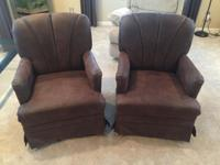 Two Brown RV Rocking Chairs that also swivel. They are