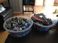 We have two buckets of Mega Blocks and other Lego