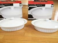 2 brand new Casa Blanca 1.5 qt ceramic oval covered