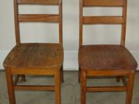 2 Children's Solid Wood Chairs Some wear but they are