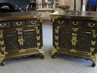 Two attractive antique Chinese side table cabinets.
