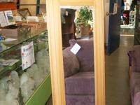 Corner medicine utility cabinets, light hardwood frame