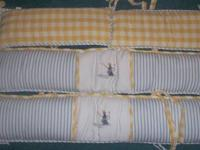 Monkey Fishing Crib Set Includes Yellow & White checked