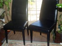 2 Cushion High Back Black Chairs Armless  Faux black