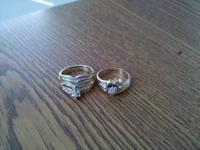Both wedding sets are 10k gold. 1 is 1/4 ct. tw diamond