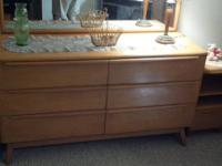 2 Light colored dressers and 2 night stands Long