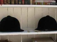 2- Black Velvet riding hats. Were used as stage props.
