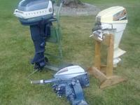 Up for sale are 3 outboard motors. 2-10 horse Evinrude