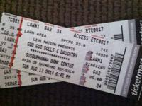 Selling 2 lawn Goo Goo Dolls Tickets for tonight's