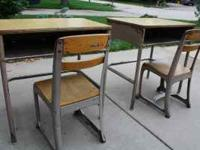 2 Desks with chairs. Desks have front compartment. They