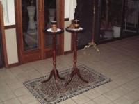 2 Green Marble Wood Pedestals Square Stands that are