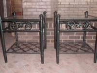 VERY NICE 2 WROUGHT IRON GREENISH-BLACK END TABLES W/