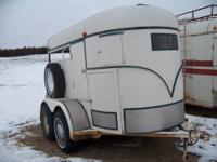bumper pull two horse trailer for sale. white with blue