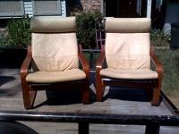 We have 2 beautiful cream leather Poang chairs with a