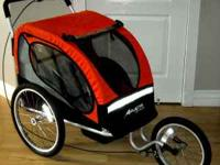 This is 2 in 1 Avenir solo bike trailer with jogging