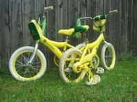 2 Yellow John Deer Kids bicycles, maybe 18in, in good