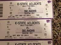 Selling my 2 tickets to this weekend's K-State vs OU